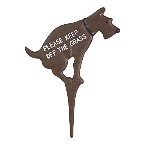 Große 24,1x 33cm aus Gusseisen massiv, kein Hund Pooping Yard Sign bemalt auf beiden Seiten -