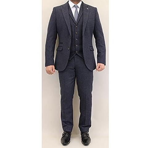 Hommes Mélange Laine Pour 3 Pièces Tweed Cavani Designer Blazers Slim Fit Gilet Pantalon - Bleu - Martez, Chest 36