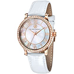 Klaus Kobec KK-10003-01 Ladies Lily Rose Gold Plated Watch with Swarovski Crystal Bezel