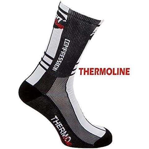 Pro-Line - Calcetines térmicos para ciclismo, triatlón, running, en blanco y negro, calcetines Thermoline, 1