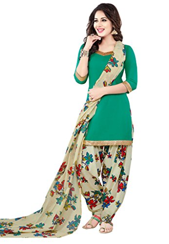 Salwar Studio Women's Sea Green & Grey Synthetic Floral Printed Unstitched Patiyala...