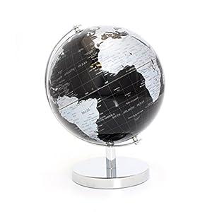 Bola del mundo sobre base de metal de estilo moderno en color negro y plateado