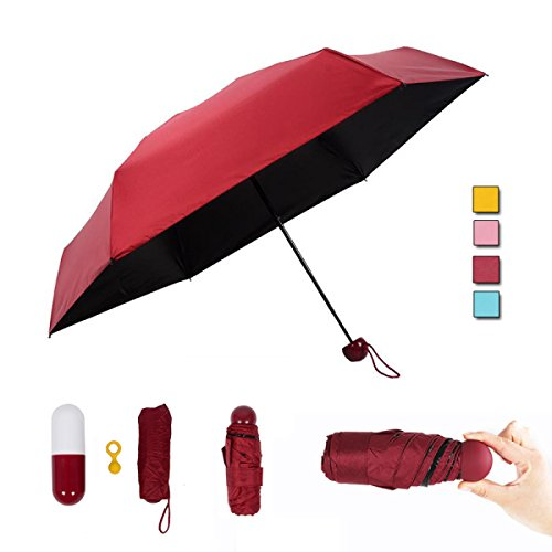 Red Umbrella Stand (Mini Capsule Umbrella Super Light Kleine Faltung Mit Kapsel-Etui Wasserdicht 5 Klapp Compact Pocket Sonnenschirm Für Frauen Mädchen Portable Anti-UV,Red)