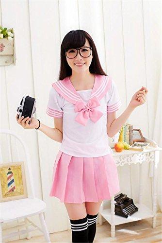 Frühling Sommer Frauen Mädchen Akademie Kostüm Kleidung Anzüge Cosplay Sailor Uniformen (L, rosa)