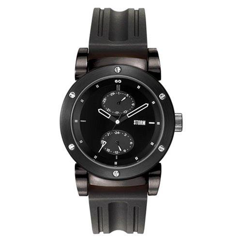 Storm Hydron 4339/BK/BK - Reloj de caballero de cuarzo, correa de goma color negro