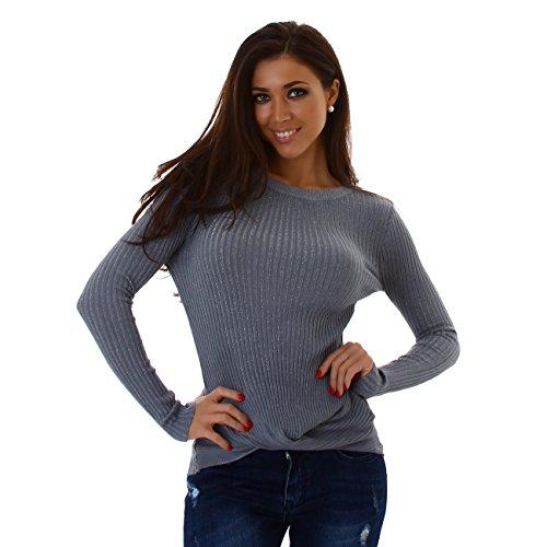 ENZORIA Damen Pullover, ein Pulli mit Silbefäden verarbeitet und im trendigen Wickellook, Gr. 34-38 Grau