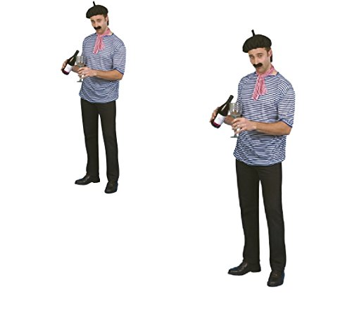 s 'Herren frenchman, Zwiebel- Allo Allo-T-Shirt Barettmütze, Schal und Schnurrbart, Kostüm-Set (Nationale Kostüm Fancy Dress)