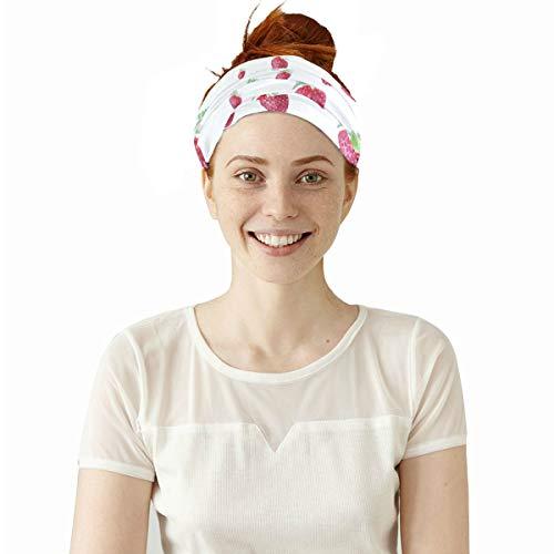 Zucker süße Erdbeerfrucht elastische Stirnbänder Kopf wickeln Schal Sport Schweißband Gesichtsmaske Magie Schal Haarschmuck Bands Krawatten für Frauen Männer Mädchen Laufen Workout Fitness Yoga -