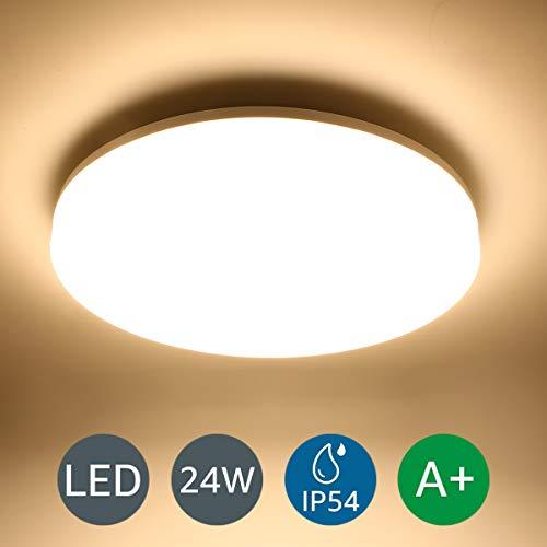 LE 24W LED deckenleuchte Bad,deckenlampe,badlampe,IP54 Wasserfest,ideal für Wohnzimmer,Schlafzimmer,Badezimmer,Kinderzimmer,Küche,Büro,Balkon,Flur Warmweiß rund flach 3000K 2400lm Ø33cm -
