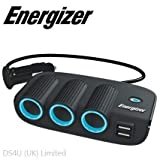 Energizer Vehicle Triple Socket Adaptor & Twin USB - 12V