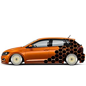 Auto Aufkleber WABEN Rauten GTI Polo Seitenaufkleber Decor Auto Motorhaube Motive Camo Style Waben Rauten Aufkleber Tuning Sticker