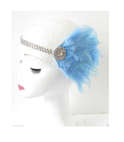 Bibi à plumes Bleu clair argent Bandeau ANNÉES 1920 Flapper VTG R55 * * * * * * * * exclusivement vendu par – Beauté * * * * * * * *