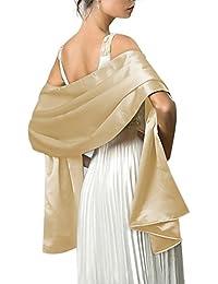 Très Chic Mailanda Écharpe Châle Étole en Satin Femme Wrap Foulard Pashmina  pour Soirée Cérémonies Fêtes 33e486943e1