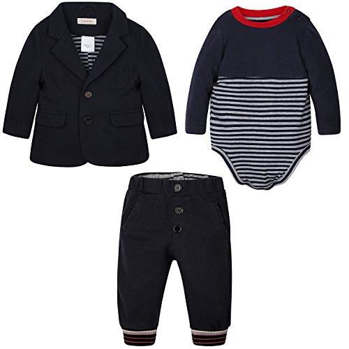 CATAWE Kinder Mantel, Baumwolle lange Ärmel ,Frühling 3 Stück Gentleman Suit Herbst ,Kinder Jacke für Taufe Geburtstagsfeier Hochzeitsfeier 70(6-9M)