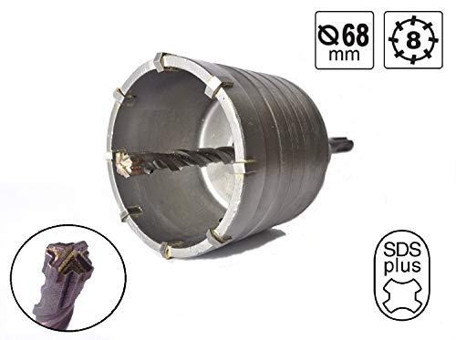 KSP-Tec Hohl-Bohrkrone Ø 68mm mit SDS plus Adapter - Lochsägen Bohrer für Installationsarbeiten,Dosenbohrer - Hammerschlagfest - Zentrierbohrer mit 4 Vollhartmetall Schneiden