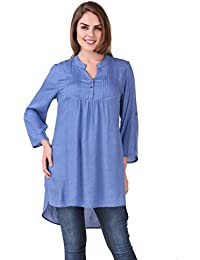 Mind The Gap Solid Blue Rayon Tunic