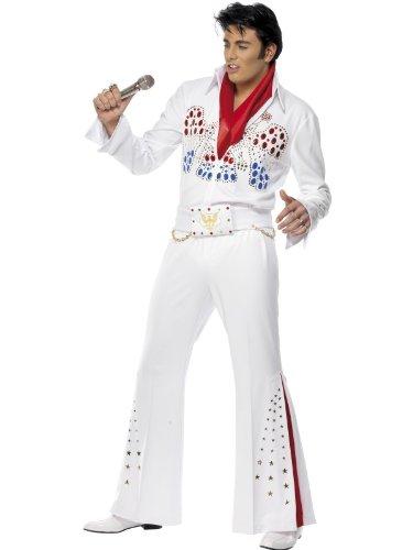 KULTFAKTOR GmbH Elvis Kostüm Karneval Weiss-bunt -