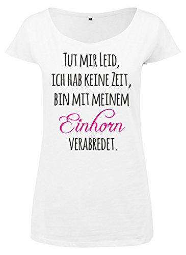 Ladies Damen Wideneck Tee T-Shirt Sommertop Shirt Unicorn Date Tut mir leid, ich hab keine Zeit, bin mit meinem Einhorn verabredet Weiß