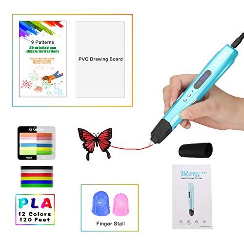 3D Stift mit LED-Anzeige größer, Motor Militär, gloss UV Beschichtung, 9 Papierschablonen, 12 PLA, 2 Ärmel der Fingern, Silikonkappe/Kompatibel mit Glühfaden PLA und ABS VICTORSTAR VT-B660 (Blau)