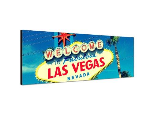 Keilrahmenbild Wandbild 150x50cm Las Vegas Schild Reklame Himmel Palmen