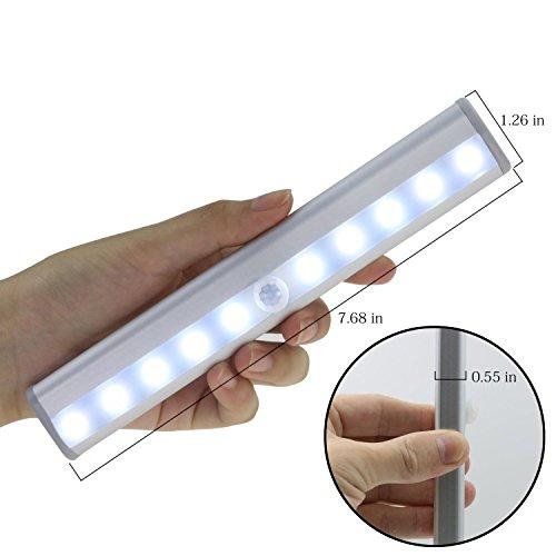 KONKY PIR Schranklicht Bewegungs Sensor LED Licht, Aufklebend Wand Drahtlose Bewegungs Aktivierte Lampe mit Magnet, Batteriebetriebene 10 LED Nachtlicht Beleuchtung für Wandschrank Schrank Treppenhaus Flur Waschraum, 1 Pack (Es hat EU-Zertifizierung) (Sensor Wand Licht)