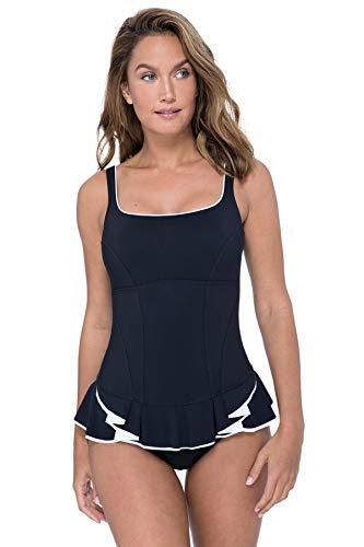 Profile by Gottex Damen Peplum Scoop Neck One Piece Swimsuit Einteiliger Badeanzug, Belle Curve Black, 36 (Peplum One Piece Swimsuit)