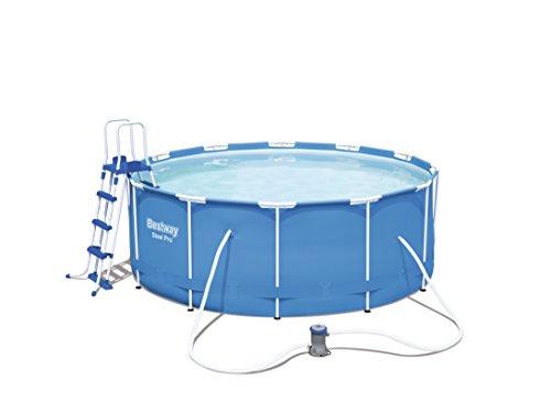 Bestway Steel Pro Frame Pool Komplettset rund, mit Kartuschenfilterpumpe, Leiter, Boden- und Abdeckplane, 366x122 cm, blau