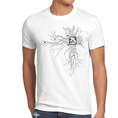 style3 Cyborg Computer Chip Herren T-Shirt, Größe:M;Farbe:Weiß