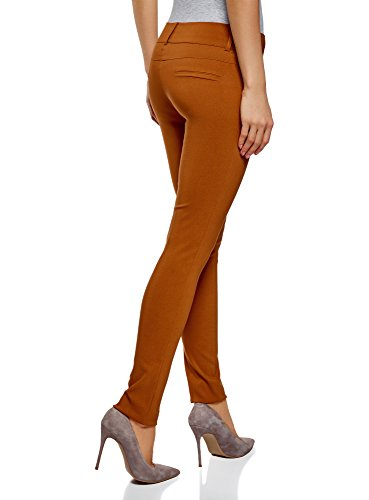 oodji Ultra Damen Enge Stretch-Hose Braun (3100N)