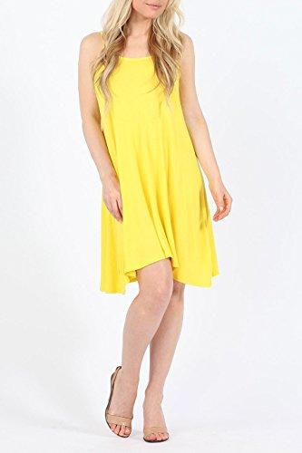 Damen Plain Cami Swing-Kleid EUR Größe 36-42 Gelb
