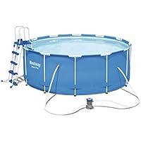 Bestway Steel Pro Frame Pool Set mit Filterpumpe + Zubehör, 366 X 122cm