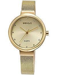 Hermosos Relojes Weiqin Mujer con Moda Reloj de Cuarzo Reloj de Malla de Acero