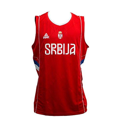 PEAK Herren Basketballtrikot Serbien 2016 Serbia Red S (Kreuz-vorderseite Trikot)
