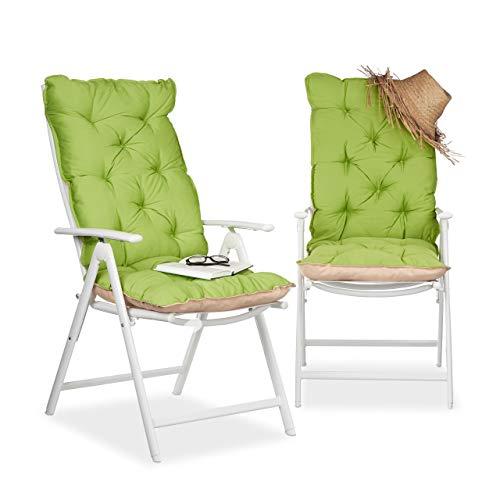 Relaxdays 10023473_53 copri-sedia, cuscino per sdraio, imbottitura per sedie da giardino con schienale alto hlp: 115 x 47 x 9 cm, verde/beige