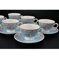 Juego de 12 tazas de té con 6 platillos, color rosa, azul, único, hermoso estampado de flores, para casa, fiestas, preciosas vajillas azul
