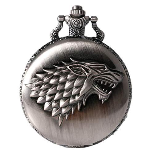 QMMCK Retro Bronze Schwarzes Kupfer Taschenuhr Dornenkopf Taschenuhr Game of Thrones Stricker Taschenuhr Color 2