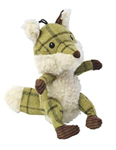 House of Paws Tweed Plush Fox Dog Toy, Green