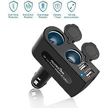 [Actualización de seguridad] Cargador de coche Rocketek® 3.1A / 15.5W Dual USB con 2 Socket Adaptador de mechero DC enchufe del coche Splitter - Construir-en el zócalo del adaptador del coche 10A Fusible