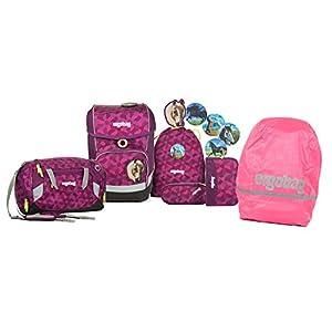 f3213a0081c9f Ergobag – Schulranzen Set 5 tlg. CUBO NachtschwärmBär inkl. Sporttasche und  Regenhülle (pink)