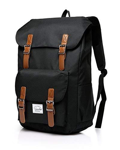 VASCHY Rucksack Vintage, Jugendliche Rucksäcke Leichter Rucksack Rucksack Studenten Lässiger Rucksack Unisex Rucksack für 15,6 Zoll Laptop -Schwarz