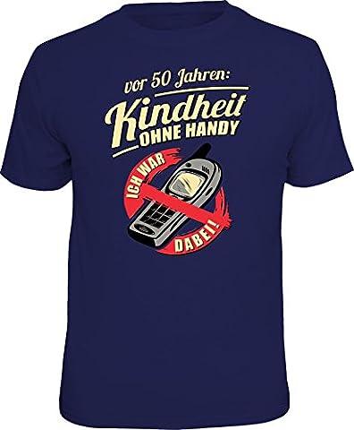 Original RAHMENLOS® Geschenk T-Shirt: Kindheit ohne Handy vor 50 Jahren Größe L, Nr.1525