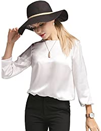 2b08cd46428920 LILYSILK Women's 22MM Relaxed Fit Round Neck Silk Blouse T Shirt Top for  Ladies