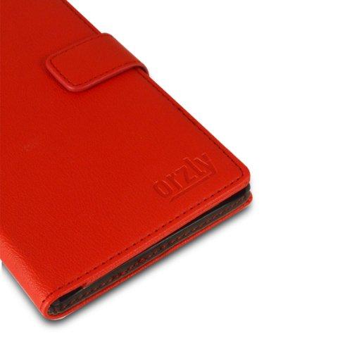 Orzly® - SAMSUNG S5 Multi-Function Wallet Stand Case - SCHUTZHÜLLE mit integrierte BRIEFTASCHE + STAND - Flip Stil Fall / Tasche / Handytasche in SCHWARZ Leder Effekt mit Magnetischen Deckel - Hülle E ROT