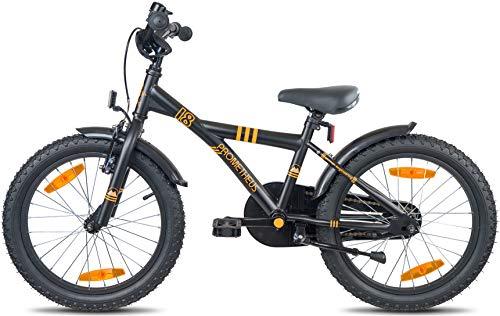 Prometheus Bicicletta per bambini e bambine dai 6 anni nei colori Nero Opaco e Arancione da 18 pollici con freno a V in alluminio e contropedale – BMX da 18″ modello 2019 - 4