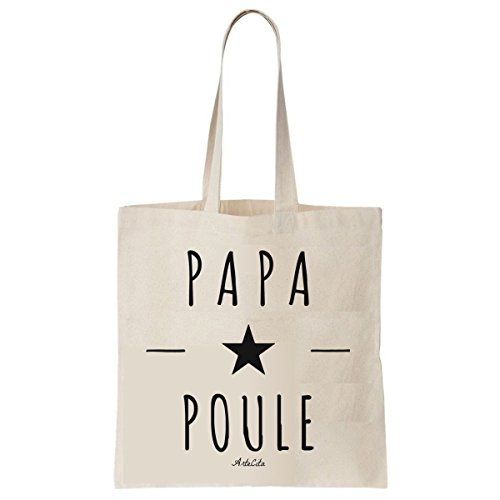 Tote Bag Imprimé Ecru - Toile en coton bio - Papa Poule