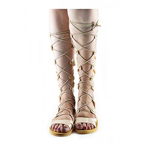 Kick Footwear - Womens Fashion Gladiatoren Langen , Elastischen Schnürsenkel Sommer-Sandalen Nackt