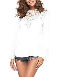 0a563d2a22cf Damen Bluse Mode Einfarbig Spitzen Splice Hemden Tops Blouse Rundhals  Langarmshirts Oberteile Shirts