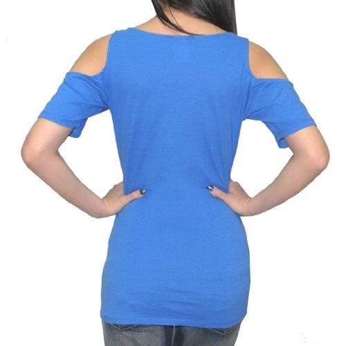 NCAA Kansas Jayhawks Damen Rundhals-Off-The-Shoulder T-Shirt Blau