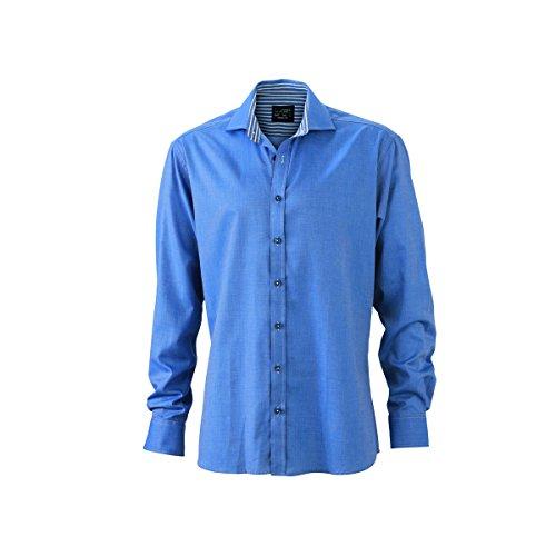 JAMES & NICHOLSON -  Camicia classiche  - Basic - Maniche lunghe  - Uomo bleu / marine - blanc