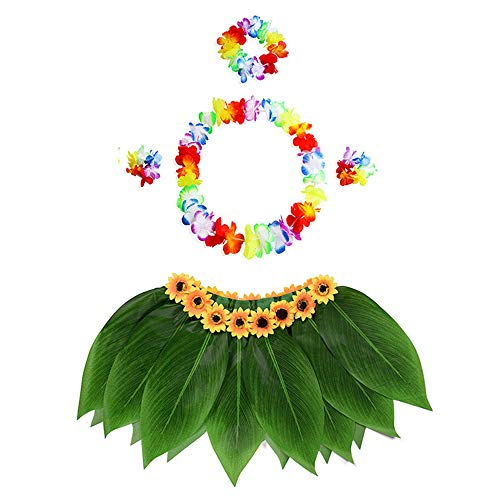 YOUQING Anzug aus fünf Teilen Hawaiian Girl Rock Leis Fancy Dress, Hula Grass Rock mit Flower Leis-Kostüm Luau Grass und Hawaiian Flower Bracelets